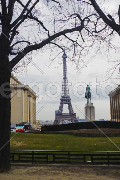 Eiffel Tower in central Paris, his most recognizable architectural feature.