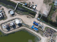 Top view of the equipment for oil separation. Equipment for the drying gas and condensate collection