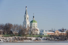 Church on the frozen banks of the Volga in Tver