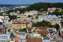 View the city from a bird's flight. City of Lviv