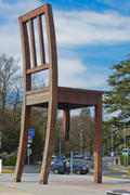 Broken chair was installed on the Place des Nations in Geneva