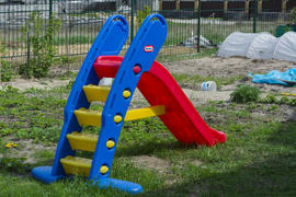 Children's slide in the yard of a private house.