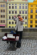 Street musician. The sounds of symphonic music. Violin