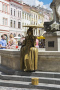 Live wax figures on the streets of the city of Lviv