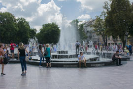 Urban landscape. Fountain in the park of the city
