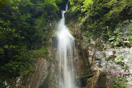 The falls in mountains fall from big height and strongly rustle