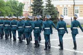 Soldiers on march in smart regimentals go for parade