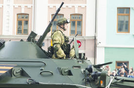 Military on parade show power of the Russian army and readiness to protect the country